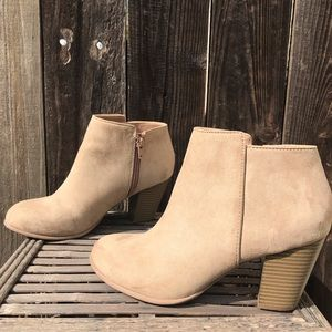 Basic Block Heeled Faux Suede Tan Booties Sz 8